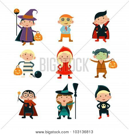 Kids in Halloween Costumes Vector Illustration