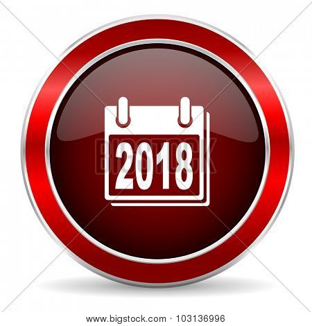 new year 2018 red circle glossy web icon, round button with metallic border