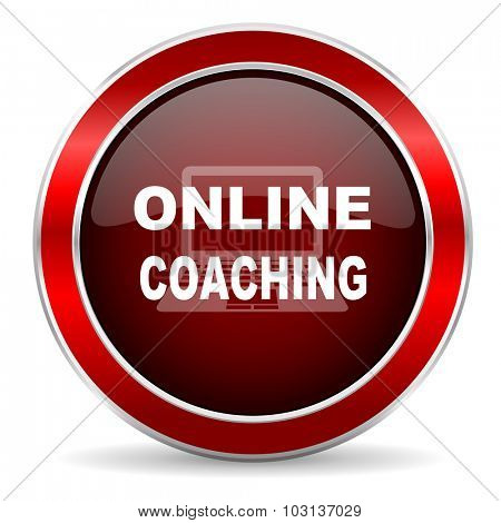 online coaching red circle glossy web icon, round button with metallic border