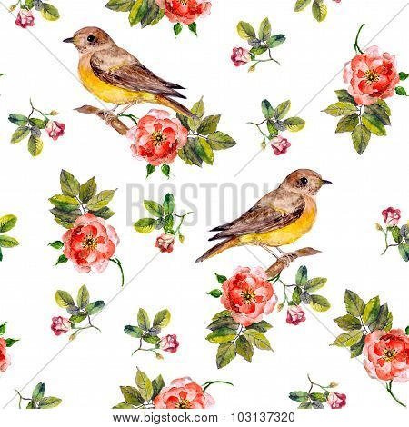 floral seamless backdrop with wild roses and birds, watercolor