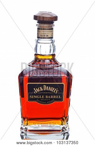 MIAMI, USA - March 24, 2015: Bottle of Jack Daniels single barrel.