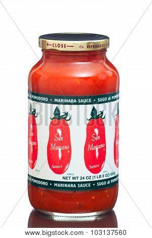 MIAMI, USA - March 30, 2015: A jar of San Marzano Sugo di Pomidoro Marinara Sauce 24 oz.