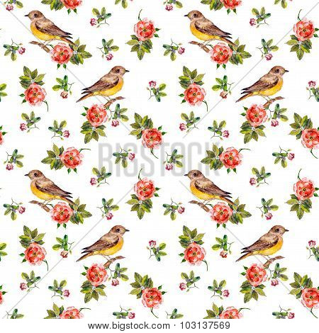 Tender romantic vintage seamless background with birds in roses