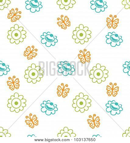 Seamless Texture with Flowers and Butterflies, Elegance Pattern