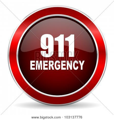 number emergency 911 red circle glossy web icon, round button with metallic border