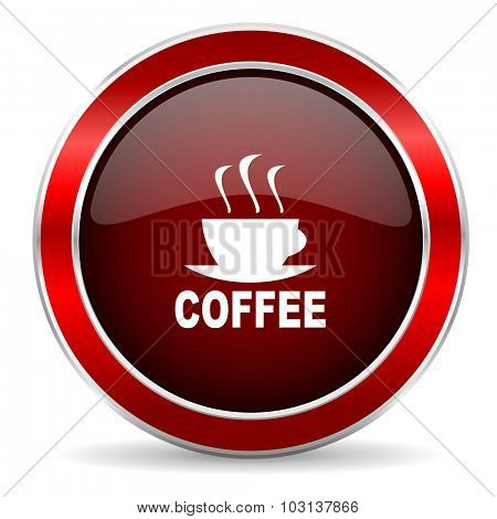 espresso red circle glossy web icon, round button with metallic border