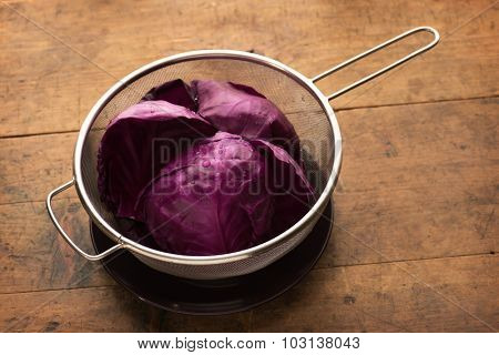 Red cabbage. Preparing red cabbage for cooking.