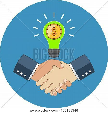 Business Cooperation Concept. Flat Design.