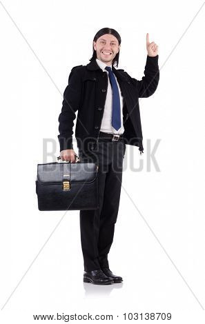Young businessman holding briefcase isolated on white
