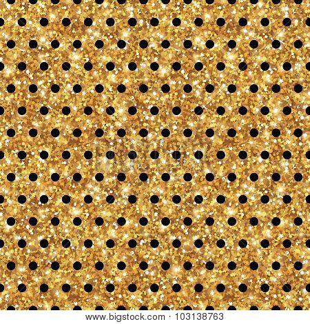 Gold Shining Polka Dot Seamless Pattern.