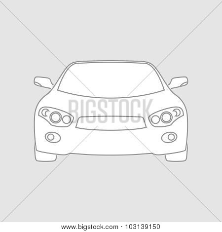 Sedan Car Wireframe Front View
