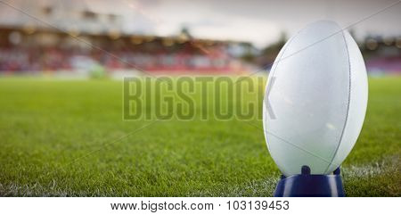 Rugby ball against pitch
