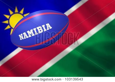 rugby ball for namibia against namibian flag on white background