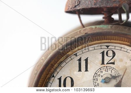 The dial of the old clock close up