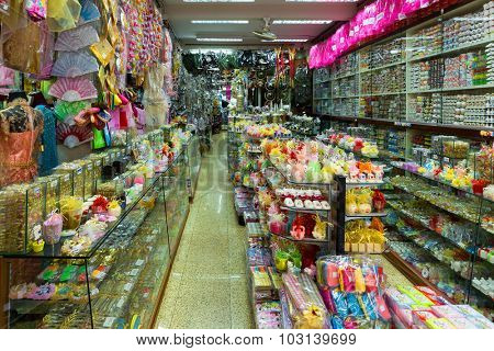 BANGKOK, THAILAND, FEBRUARY 18, 2015 : View inside a general Chinese store full of various stuffs in the Chinatown district of Bangkok, Thailand