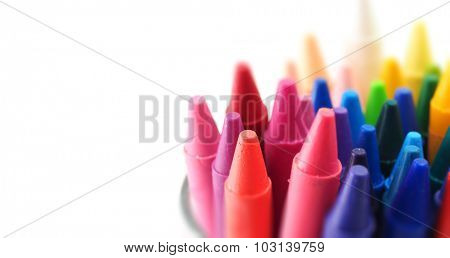 Crayons ready for creative use. Crayons isolated on white with wide image dimension format.