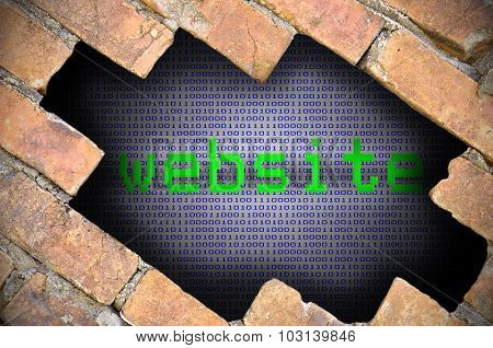 Business Concept For Data Security - Hole In Brick Wall With Binary Digit Background Inside With Web