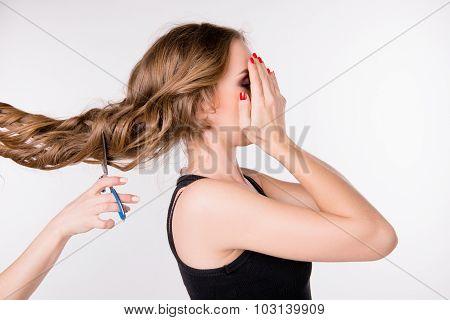 Cutting Scared Girl's Long Hair