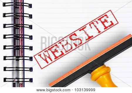 Website Rubber Stamp On The Note Book