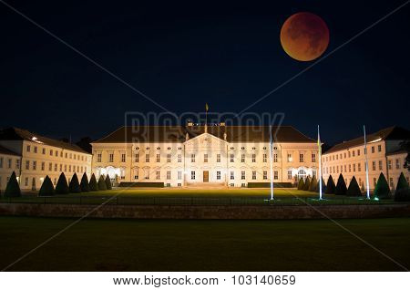 Bellevue Palace With Bloody Moon, Berlin, Germany
