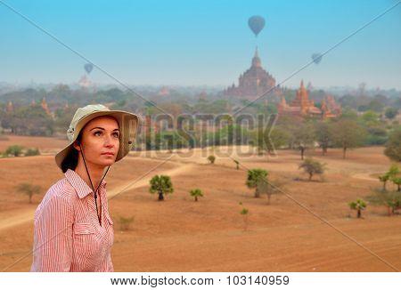 Woman In Bagan During Sunshine