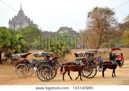 Carts On Background Ananda Temple
