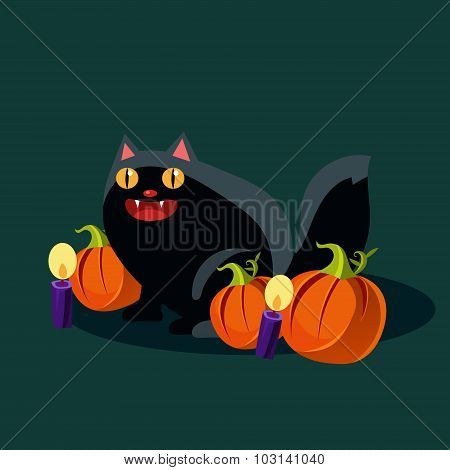 Halloween Black Cat and Pumpkins Vector Illustration
