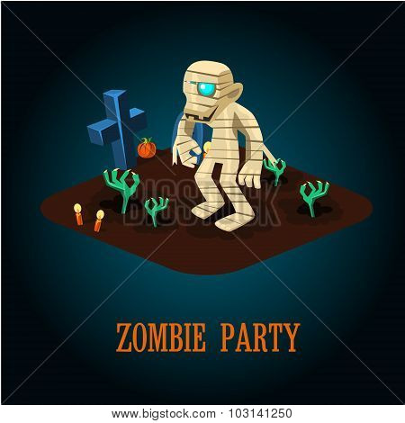 Cartoon Mummy on Night Halloween Cemetery Vector Illustration