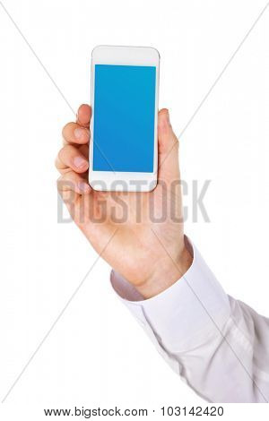 Hand holding smart phone with blue screen, isolated on white