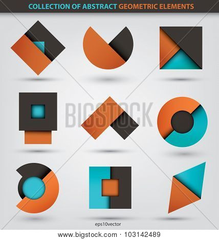 Collection of abstract geometric icons based in circles, squares and triangles