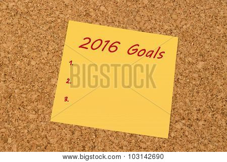 Yellow sticky note - New Year 2016 Goals list