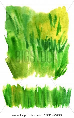 A set of watercolor textures representing grass, on white background