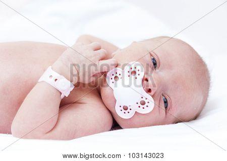 portrait of newborn baby girl