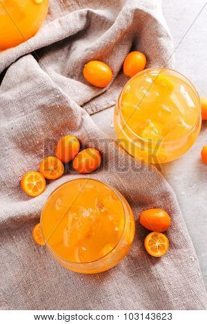 Delicious mandarin juice on the table
