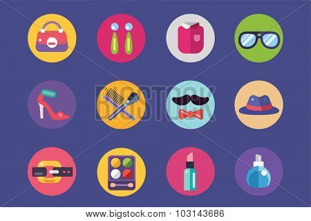 Clothes and fashion icons set. Shopping. Bag girls shop, shopping symbols and store of cosmetics, beauty woman, button, eye, dress. Interface elements. Vector icons set. Shop fashion icons. Shop logo