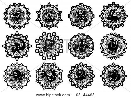Characters Chinese Zodiac Signs In The Snowflake.