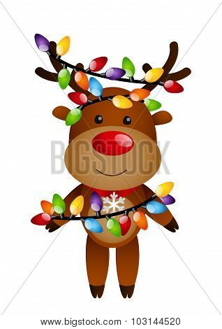 Funny deer with color light bulbs