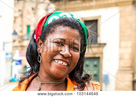 BAHIA, BRAZIL - CIRCA NOV 2014: Unidentified happy baiana woman in Salvador, Bahia.