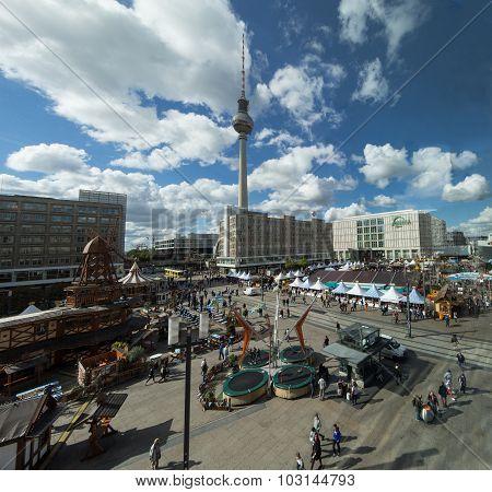Tv tower and Alexanderplatz in Berlin Germany