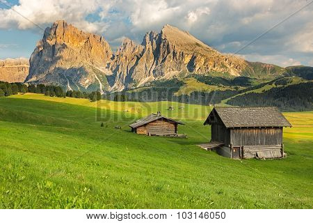 Langkofel Group At Seiser Alm, South Tyrol, Italy