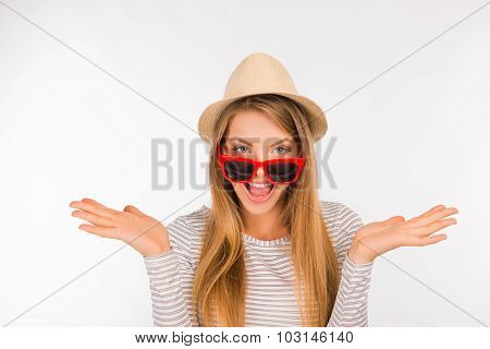 Cheerful Surprised Girl With A Hat And Glasses