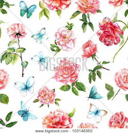 Tender watercolor roses and butterflies seamless background pattern