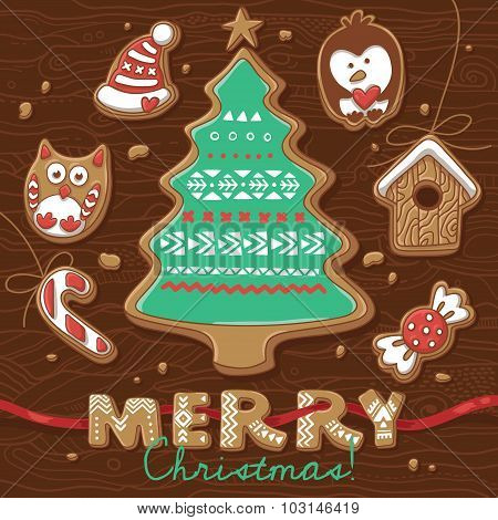 Christmas greeting card with Gingerbread Cookies.