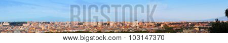 Ultra wide panorama of the ancient city of Rome, Italy. Seen from Piazza Giuseppe Garibaldi