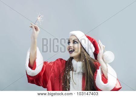 New Year Brunette Girl