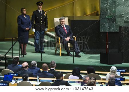 President Of Ukraine Petro Poroshenko At Un General Assembly