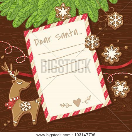 Letter to Santa Claus. Christmas card with gingerbread cookies.