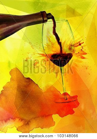 Wine poster with red wine poured, on textured golden background