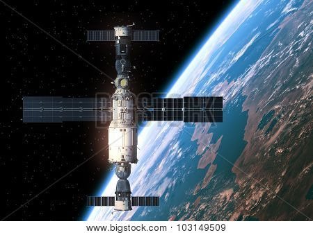 Space Station Orbiting Earth