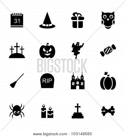 Halloween Traditional Icons Isolated
